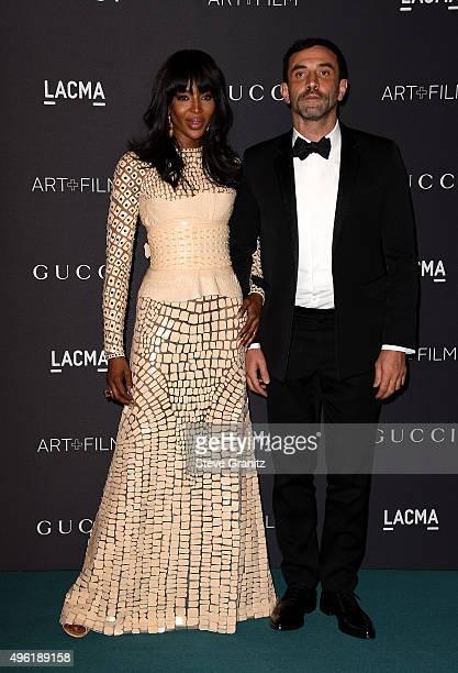 Model Naomi Campbell and designer Riccardo Tishi attend LACMA 2015 Art+Film Gala Honoring James Turrell and Alejandro G Iñárritu, Presented by Gucci...