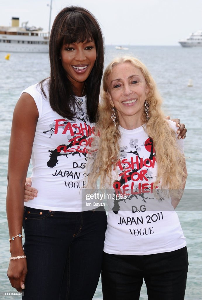 Model Naomi Campbell (L) and Editor- in-chief of Vogue Italy Franca Sozzani attend the 'Fashion For Relief' photocall at the Majestic Beach Pier during the 64th Cannes Film Festival on May 15, 2011 in Cannes, France.