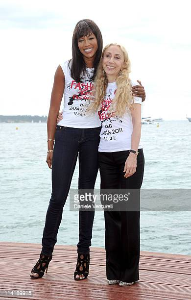 Model Naomi Campbell and editorinchief of Vogue Italia Franca Sozzani attend the Fashion For Relief Japan Appeal photocall at the Majestic Hotel Pier...