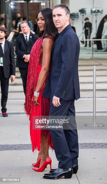 Model Naomi Campbell and fashion designer Raf Simons are seen arriving to the 2018 CFDA Fashion Awards at Brooklyn Museum on June 4, 2018 in New York...