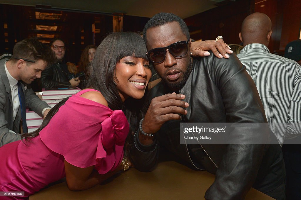 Model Naomi Campbell (L) and recording artist Sean Combs attend the Los Angeles launch of 'Naomi' at Taschen Beverly Hills on April 28, 2016 in Beverly Hills, California.