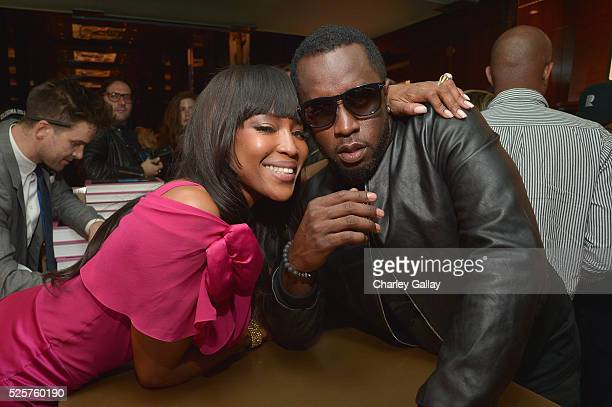 Model Naomi Campbell and recording artist Sean Combs attend the Los Angeles launch of Naomi at Taschen Beverly Hills on April 28 2016 in Beverly...