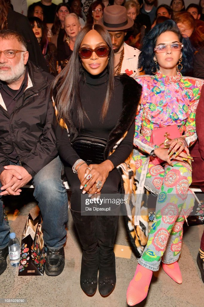 Model Naomi Campbell (L) and Sita Abellan attend the Anna Sui front row during New York Fashion Week: The Shows at Gallery I at Spring Studios on September 10, 2018 in New York City.