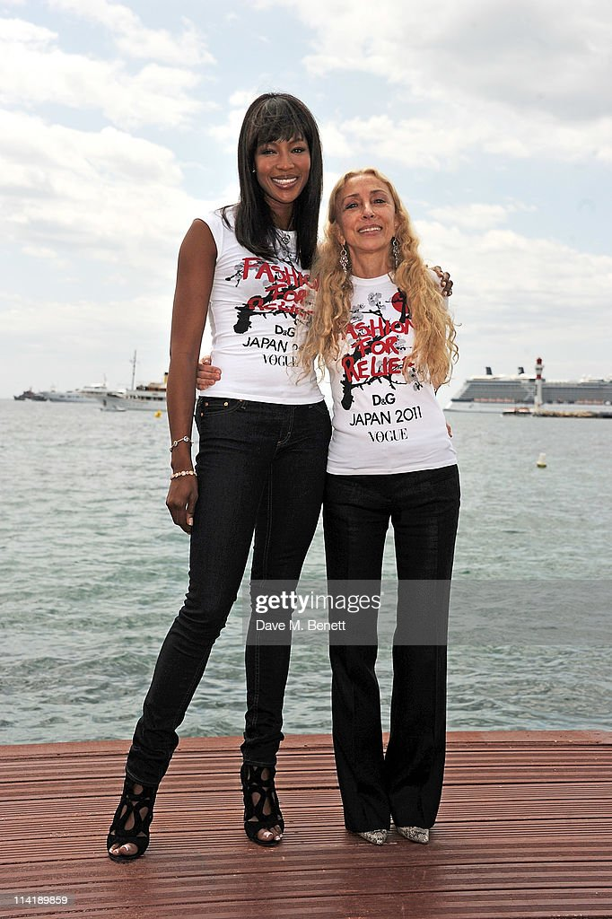 Model Naomi Campbell (L) and Vogue Italia Editor Franca Sozzani pose during a photocall for her charity Fashion For Relief's Japan Appeal at the Majestic Beach Pier on May 15, 2011 in Cannes, France.