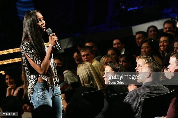 Model Naomi Campbell appears onstage during a taping for the VH1 Save The Music Foundation benefit concert at the Beacon Theater April 9 2005 in New...