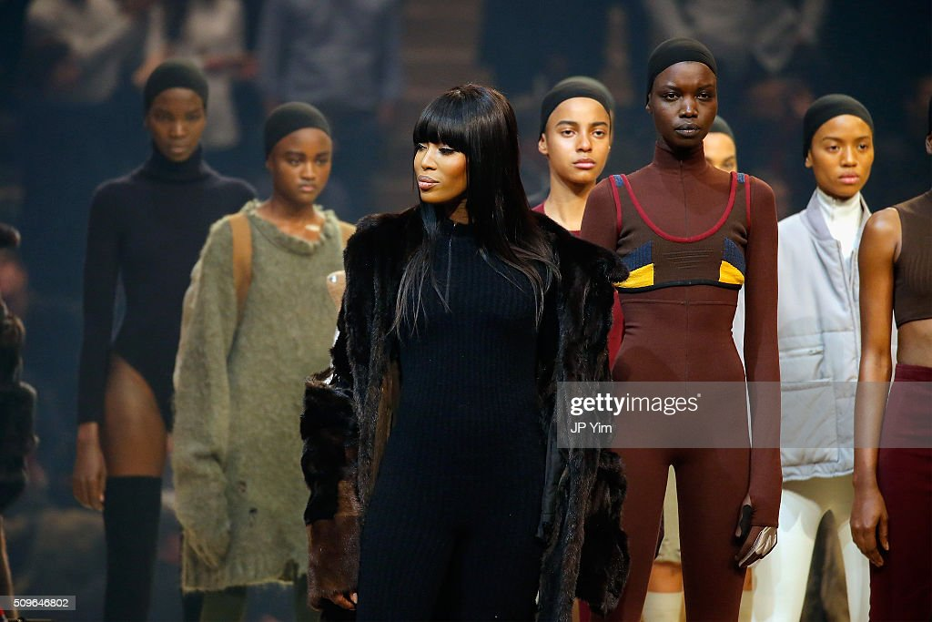 Model Naomi Campbell appears onstage during Kanye West Yeezy Season 3 on February 11, 2016 in New York City.