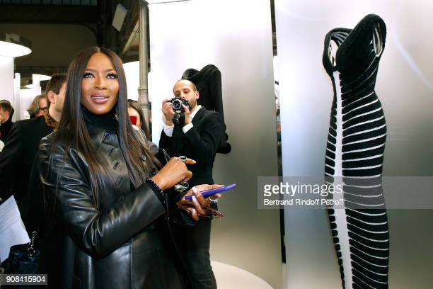 Model Naomi Campbell attend the 'Azzedine Alaia Je Suis Couturier' Exhibition as part of Paris Fashion Week Held at 'Azzedine Alaia Gallery' on...