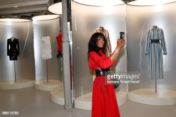 Model Naomi Campbell attends L'Alchimie secrete d'une collection The Secret Alchemy of a Collection Exhibition Preview at Galerie Azzedine Alaia on...