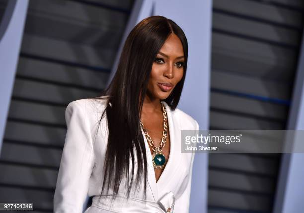 Model Naomi Campbell attends the 2018 Vanity Fair Oscar Party hosted by Radhika Jones at Wallis Annenberg Center for the Performing Arts on March 4...