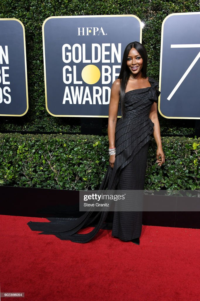 Model Naomi Campbell attends The 75th Annual Golden Globe Awards at The Beverly Hilton Hotel on January 7, 2018 in Beverly Hills, California.