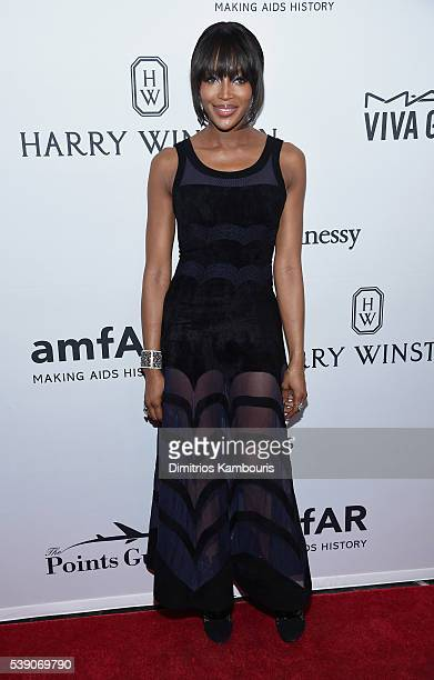 Model Naomi Campbell attends the 7th Annual amfAR Inspiration Gala at Skylight at Moynihan Station on June 9 2016 in New York City