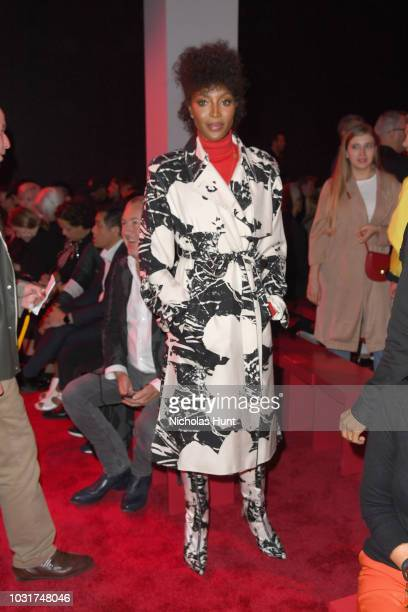 Model Naomi Campbell attends the Calvin Klein Collection front Row during New York Fashion Week at New York Stock Exchange on September 11 2018 in...