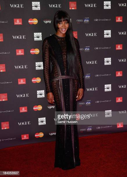 Model Naomi Campbell attends the gala dinner at the Armani Pavilion during Vogue Fashion Dubai Experience on October 10 2013 in Dubai United Arab...