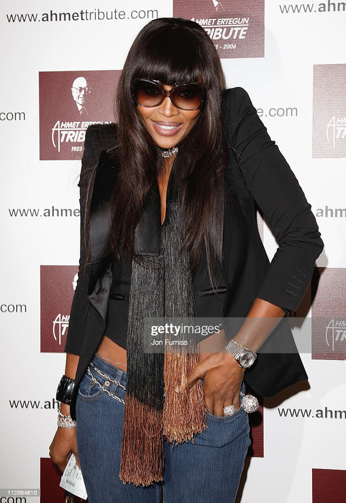Model Naomi Campbell attends the Led Zeppelin Tribute To Ahmet Ertegun concert, held at the O2 Arena on December 10, 2007 in London, England.