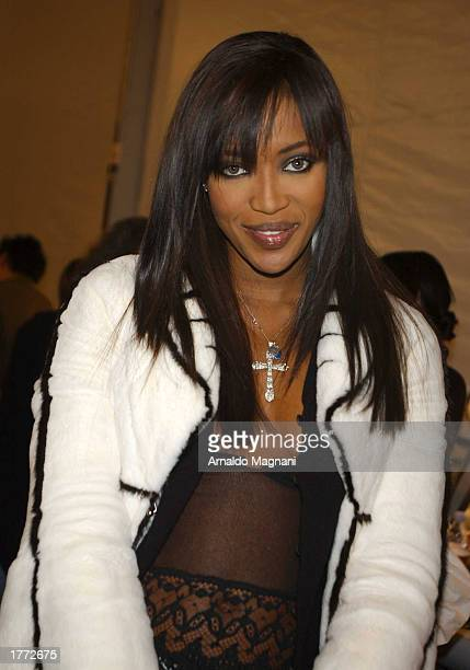 Model Naomi Campbell attends the Luca Luca fall fashion show February 9 2003 during MercedesBenz Fashion Week in New York City
