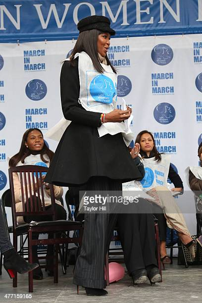 """Model Naomi Campbell attends the """"MARCH IN MARCH"""" to end violence against women at Dag Hammarskjold Plaza at the United Nations on March 7, 2014 in..."""