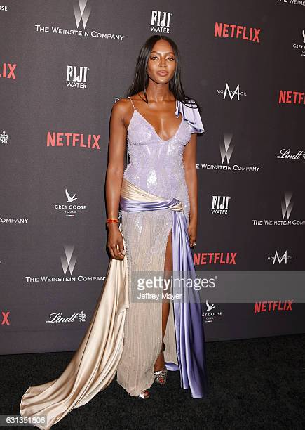 Model Naomi Campbell attends The Weinstein Company and Netflix Golden Globe Party presented with FIJI Water Grey Goose Vodka Lindt Chocolate and...