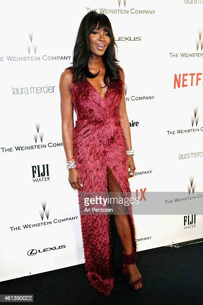 Model Naomi Campbell attends The Weinstein Company Netflix's 2015 Golden Globes After Party presented by FIJI Water Lexus Laura Mercier and Marie...