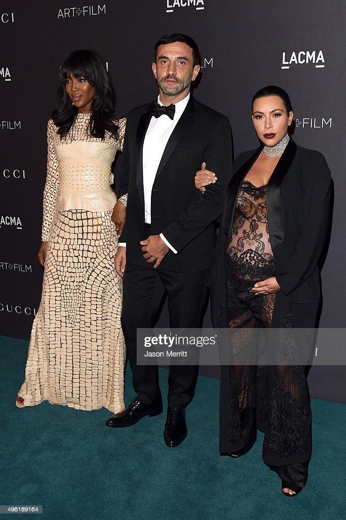 Model Naomi Campbell, Designer Riccardo Tisci and TV personality Kim Kardashian attend LACMA 2015 Art+Film Gala Honoring James Turrell and Alejandro G Iñárritu, Presented by Gucci at LACMA on November 7, 2015 in Los Angeles, California.