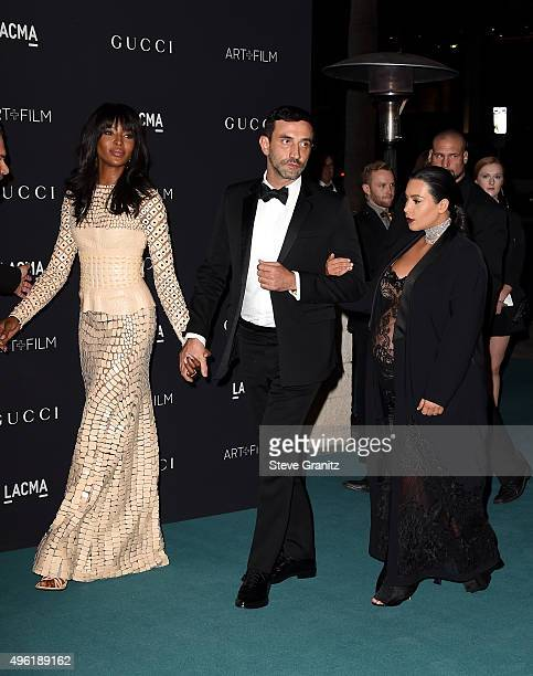 Model Naomi Campbell, designer Riccardo Tishi and TV personality Kim Kardashian West attend LACMA 2015 Art+Film Gala Honoring James Turrell and...