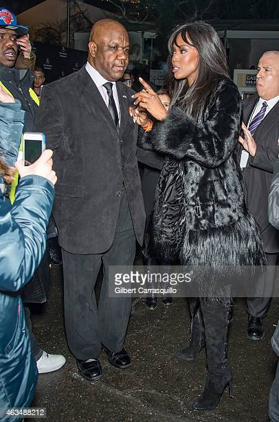 Model Naomi Campbell is seen arriving at Naomi Campbell's Fashion For Relief Charity Fashion Show during MercedesBenz Fashion Week Fall 2015 at...