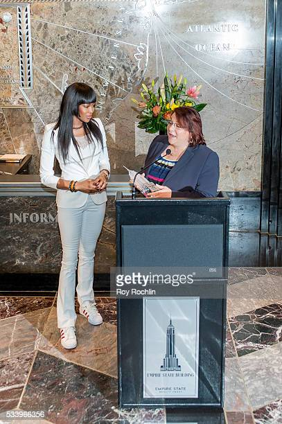 Model Naomi Campbell Lights Empire State Building on May 24 2016 in New York City