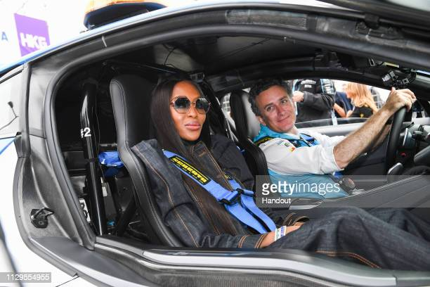 Model Naomi Campbell on a hot lap with Alejandro Agag CEO Formula E in the BMW i8 Safety car on March 10 2019 in Hong Kong Hong Kong