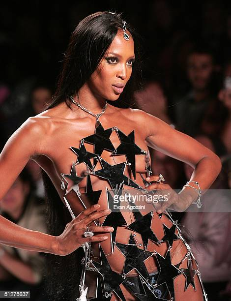 Model Naomi Campbell poses at the Heatherette fashion show during 2004 Olympus Fashion Week on September 8 2004 in New York City