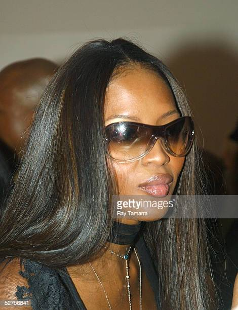 Model Naomi Campbell poses for photos at the Bad Boy and Warner Bros Partnership Party at Glow May 03 2005 in New York City