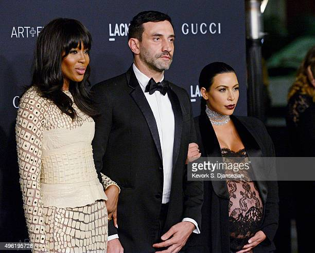 Model Naomi Campbell, Riccardo Tisci and TV personality Kim Kardashian West attend the LACMA Art + Film Gala honoring Alejandro G. Iñárritu and James...