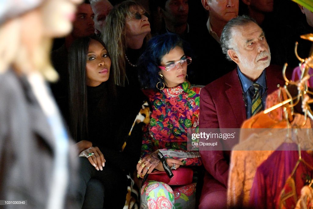 Model Naomi Campbell, Sita Abellan and director Francis Ford Coppola attend the Anna Sui front row during New York Fashion Week: The Shows at Gallery I at Spring Studios on September 10, 2018 in New York City.