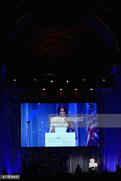 Model Naomi Campbell speaks onstage during the 2016 Princess Grace Awards Gala with presenting sponsor Christian Dior Couture at Cipriani 25 Broadway...