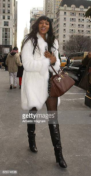 Model Naomi Campbell walks outside Cirpiani Restaurant on December 21 2004 in New York City