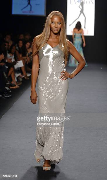 Model Naomi Campbell walks the runway at the 'Fashion for Relief' fashion show with proceeds going to aid Hurricane Katrina victims during Olympus...