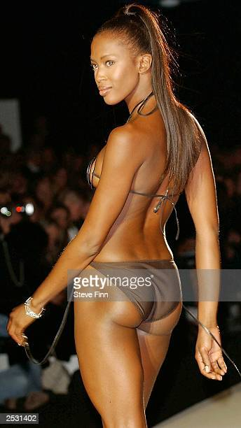 Model Naomi Campbell walks the runway at the Jasper Conran fashion show for London Fashion Week held at the BFC Tent on Kings Road September 24 2003...