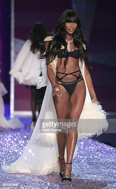 Model Naomi Campbell walks the runway at The Victoria's Secret Fashion Show at the 69th Regiment Armory November 9 2005 in New York City