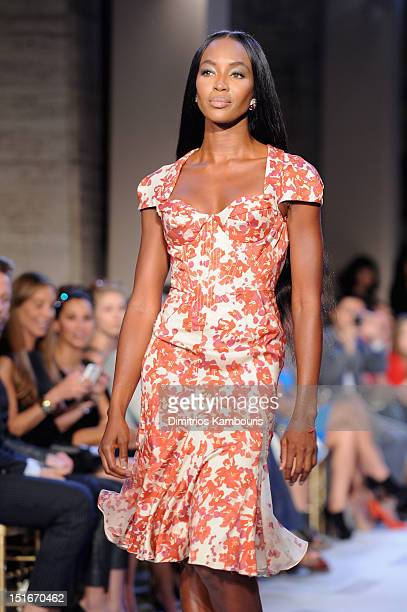 Model Naomi Campbell walks the runway at the Zac Posen Spring 2013 fashion show during MercedesBenz Fashion Week at Avery Fisher Hall Lincoln Center...