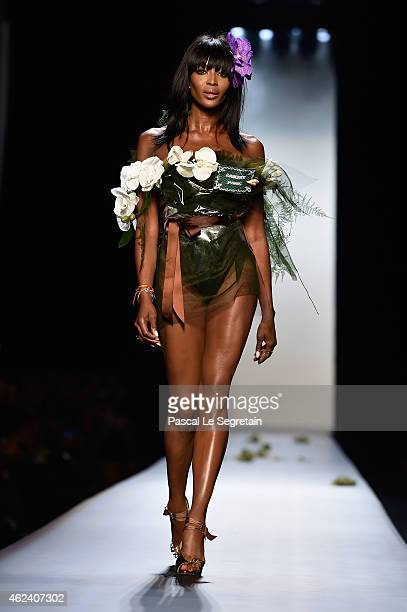 Model Naomi Campbell walks the runway during the Jean Paul Gaultier show as part of Paris Fashion Week Haute Couture Spring/Summer 2015 on January 28...