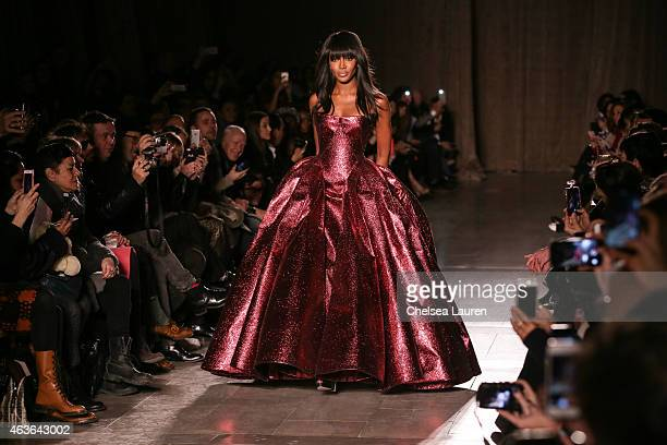 Model Naomi Campbell walks the runway during the Zac Posen fashion show at Vanderbilt Hall at Grand Central Terminal on February 16 2015 in New York...