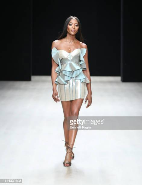 Model Naomi Campbell walks the runway wearing Deola Sagoe during Arise Fashion Week on April 21 2019 in Lagos Nigeria