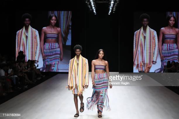 Model Naomi Campbell walks the runway wearing Kenneth Ize during Arise Fashion WeeK on April 20, 2019 in Lagos, Nigeria.