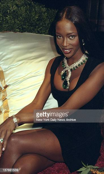 Model Naomi Campbell wears Cartier's Emerald and Diamond Snake necklace at a Cartier dinner party The emeralds add up to more than 400 carats