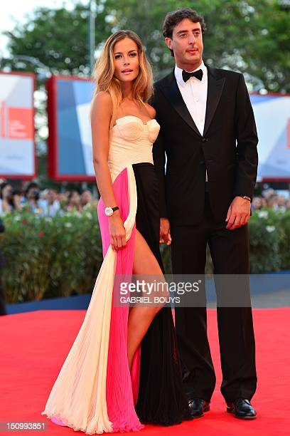 Model Natalia Borges and Lorenzo Tonetti arrive for the opening ceremony of the 69th Venice film festival on August 29 2012 at Venice Lido The...