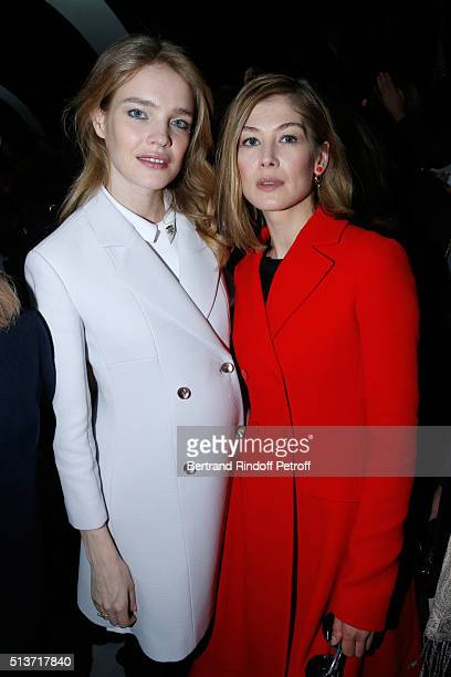Model Natalia Vodianova and Actress Rosamund Pike attend the Christian Dior show as part of the Paris Fashion Week Womenswear Fall/Winter 2016/2017...