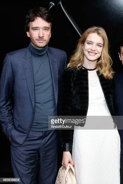Model Natalia Vodianova and General manager of Berluti Antoine Arnault pose after the Louis Vuitton show as part of the Paris Fashion Week Womenswear...