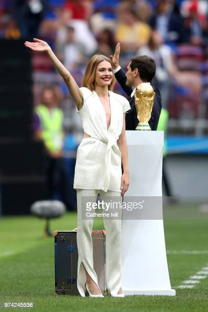 Model Natalia Vodianova cheers the fans prior to the 2018 FIFA World Cup Russia Group A match between Russia and Saudi Arabia at Luzhniki Stadium on...