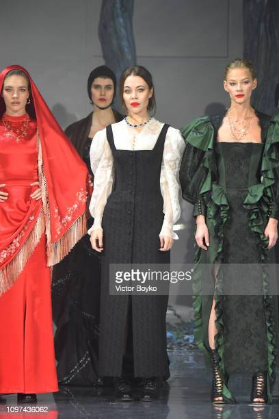 Model Natalia Vodianova designer Ulyana Sergeenko and Svetlana Khodchenkova seen onstage during the Ulyana Sergeenko Spring Summer 2019 show as part...