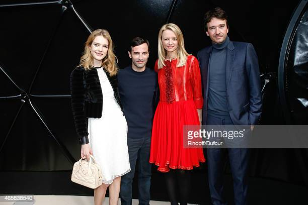Model Natalia Vodianova Fashion Designer Nicolas Ghesquiere Louis Vuitton's executive vice president Delphine Arnault and General manager of Berluti...
