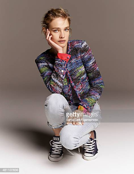 Model Natalia Vodianova is photographed for Madame Figaro on April 13 2015 in Paris France Jacket jeans sneakers personal jewelry Makeup by Guerlain...
