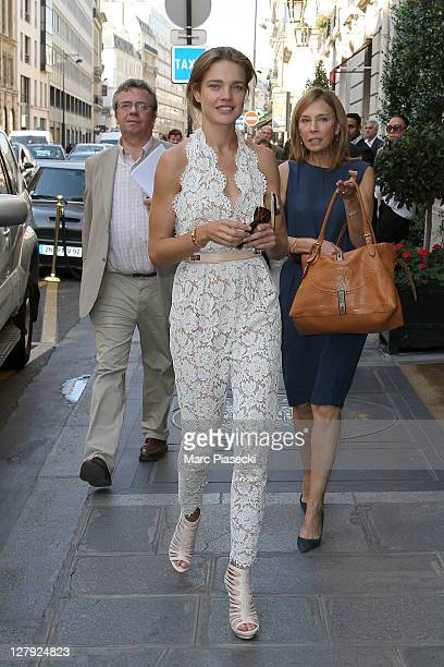 Model Natalia Vodianova is spotted at the 'Le Bristol' hotel on October 3 2011 in Paris France